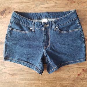 Faded Glory Mid Rise Dark Blue Wash Shorts 8